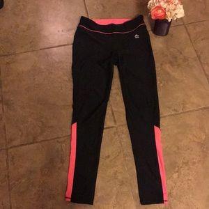 Reebok black and pink medium compression pants